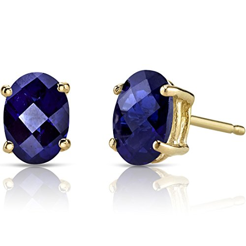 - 14K Yellow Gold Oval Shape 2.00 Carats Created Blue Sapphire Stud Earrings
