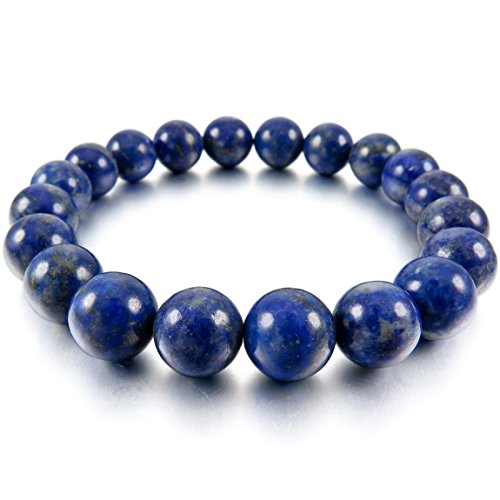 INBLUE Women,Men's 10mm Energy Bracelet Link Wrist Energy Stone Blue Buddha Mala Bead