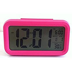 Digital LED Snooze Electronic Alarm Clock Backlight Time Calendar Thermometer Colors:Rose