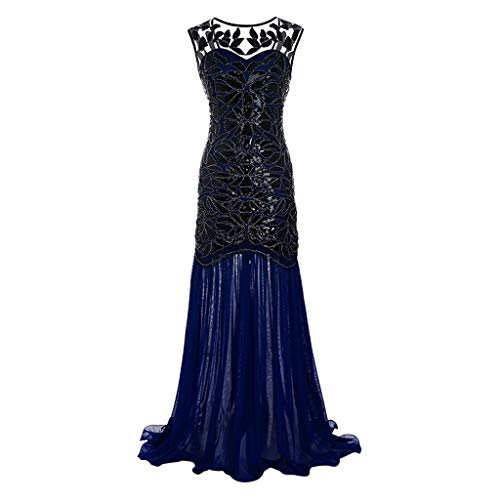 Naladoo Women's 1920s Retro Sequined Maxi Long Formal Evening Party Prom Dress Navy (Collar Sequined Peter Pan)
