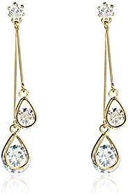 HOMEYU 925 Sterling Silver Cubic Zirconia Drop Earrings Long Chain Dangle Teardrop Earrings Crystal