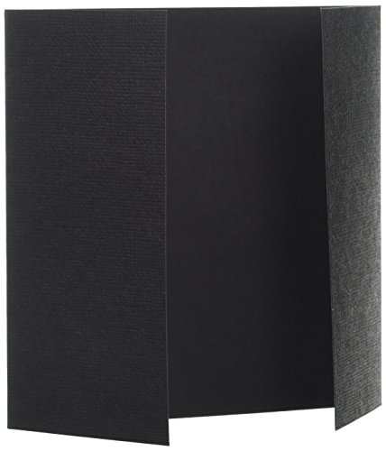 American Crafts 5-1/4-Inch by 5-1/4 Inch 12-Pack Trifold Cards, Black (Black Tri Fold Card)