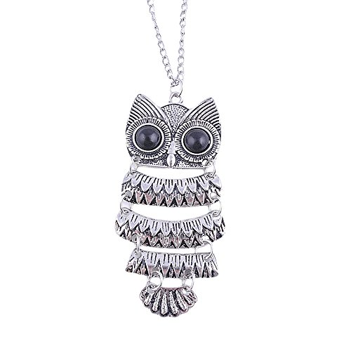 Clearance Jewelry Set,Han Shi Women Vintage Silver Plated Owl Pendant Necklace Xmas Best Gift (A, L)