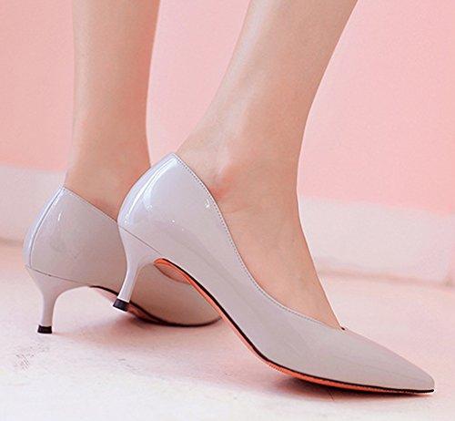 Easemax Mujeres Fashion Pointed Toe Zapatos De Tacón Bajo Clásico Vestido Bombas Luz Púrpura