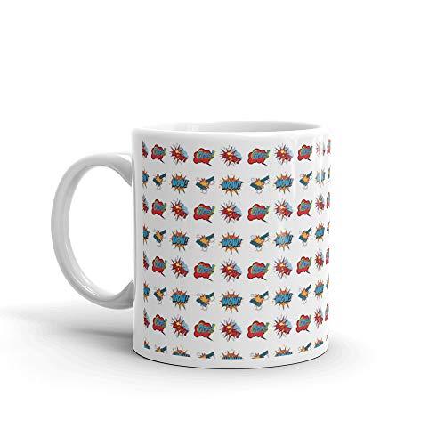 Set Of Comic Text Pop Art Style Seamless Pattern Tea Mugs 11 Oz White Ceramic ()