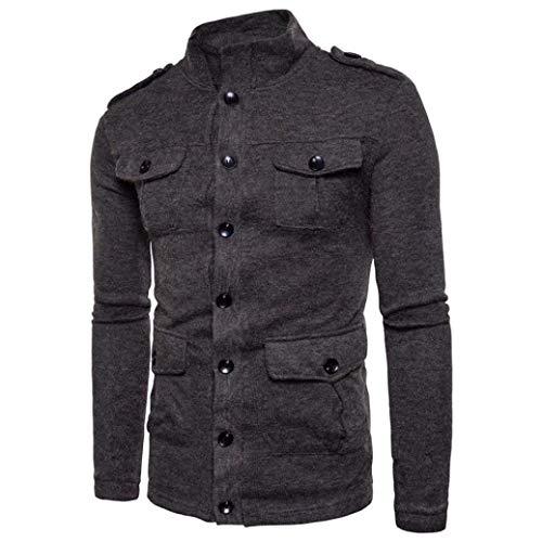 Coat Jackets Huixin Collar Sleeve Coat Long Fashion Winter Outerwear Slim Stand Dunkelgrau Autumn Leisure Fit Jacket Men's Apparel Vintage WWzEZ