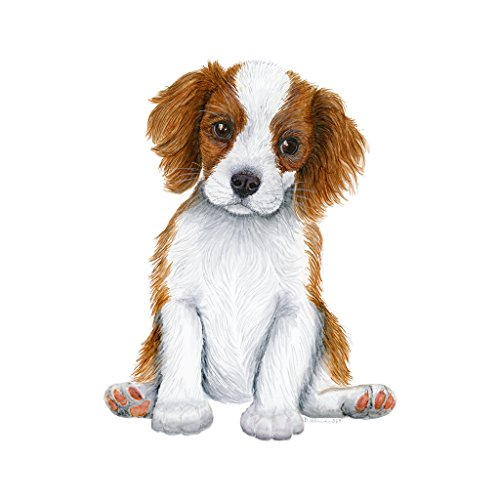Cavalier King Charles Puppy Portrait | Faithful Family Friend Watercolor | Dog Animal Nursery Art | Brown & White Print | Various Sizes Available