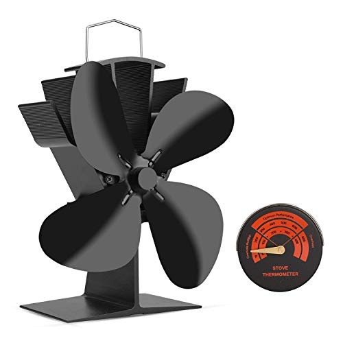 Sumapner 4 Blade Stove Fan - Quiet, Heat Powered Wood/Log Burner Fan - Eco Friendly Heat Circulation for Fireplaces +Stove Thermometer (Wood Stoves Accessories)