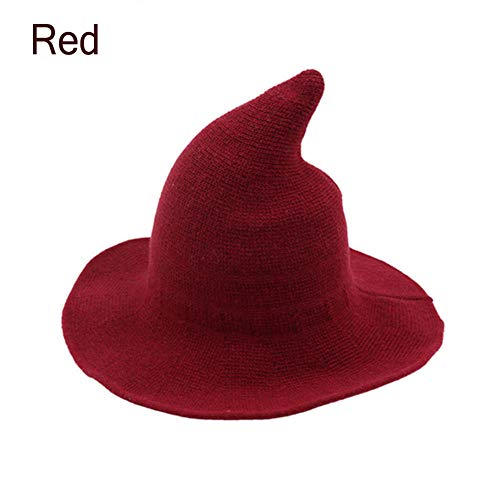 Halloween Wool Witch Hat Wide Brim Foldable Pointed Cap Headwear Fancy Costume (22.4 inch, Red) -