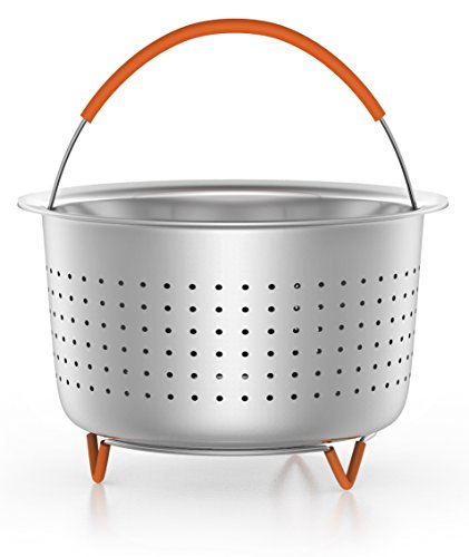 Steamer Basket Accessories For Instant Pot 6 & 8 quart - Sturdy Stainless Steel IP InstaPot Insert And Stainer - Silicone Handle And Feet For Stability, Protection And Convenience - Easy To Clean by Unique Impression