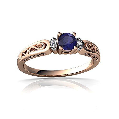 14kt Gold Sapphire and Diamond 4mm Round filligree Scroll Ring