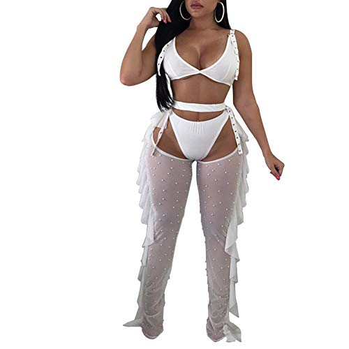 Katblink Women's Cut Out See Through Lingerie Bodycon 3 Piece Set White - 2 Piece Bustier