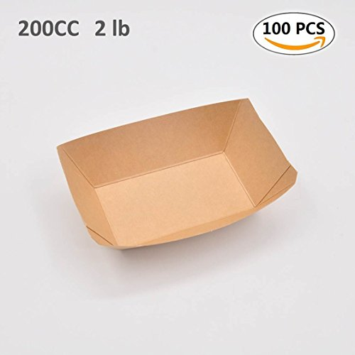 Paper Food Tray Disposable 2Lb Capacity 100 Pack Plate Ideal for Event Party Camping Picnic Barbecue Restaurant Household Holiday 6.2x3.3 in Paper Tray by Hokom
