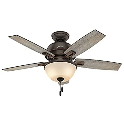 """Hunter 52225 Casual Donegan Bowl Light Onyx Bengal Ceiling Fan With Light, 44"""""""