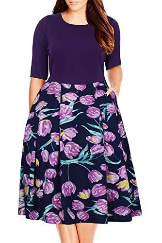 Nemidor Women's Floral Print Vintage Style Plus Size Swing Casual Party Dress (20W, Purple) (Vintage Floral Dress Plus Size)