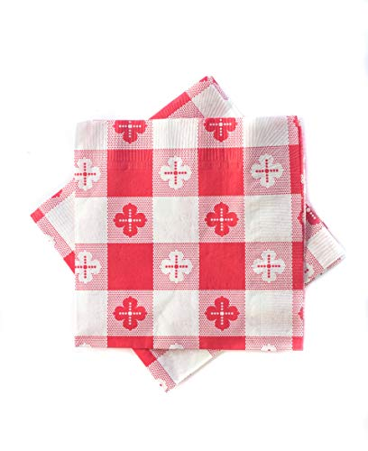 Pack of 250 - Red Gingham Checked Beverage/Cocktail ()