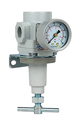"PneumaticPlus SAR300T-N03BG Air Pressure Regulator 3/8"" NPT, T-Handle, Gauge & Bracket"