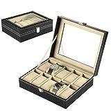 Eachbid Reloj Caja Organizador Escritorio Armario Negro Caja de Reloj de Piel PU con Terciopelo Suave Regalo para Hombre y Mujer (10 Ranuras)