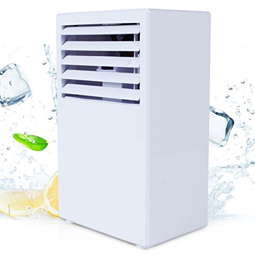 Personal Space Cooler,Vshow Personal Air Conditioner Portable Evaporative Cooler with Fan & Humidifier,Bladeless Misting Desk Table Electric Fan Quiet for Office, Dorm, Nightstand - White