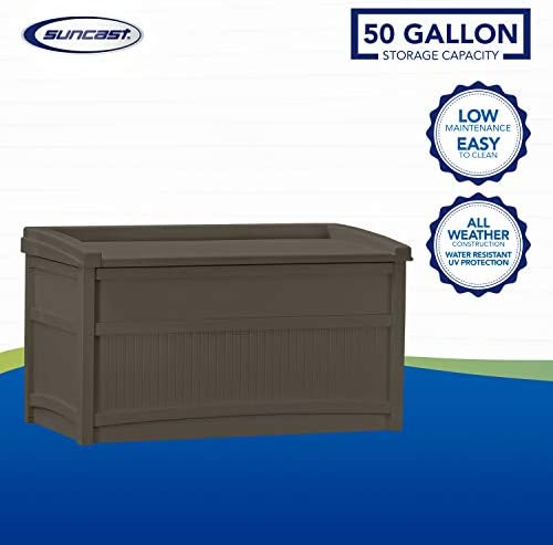 Suncast 50 Gallon Medium Deck Box Lightweight Resin Indoor Outdoor Storage Container And Seat For Patio Cushions And Gardening Tools Store Items On Patio Garage Yard Java Amazon Ca Patio Lawn