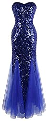 Sleeveless Blue Sequins Tulle Gown