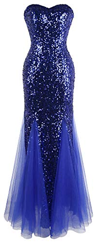 Sea 206 Clothing (Angel-fashions Women's Sleeveless Blue Sequins Tulle Evening Dress)