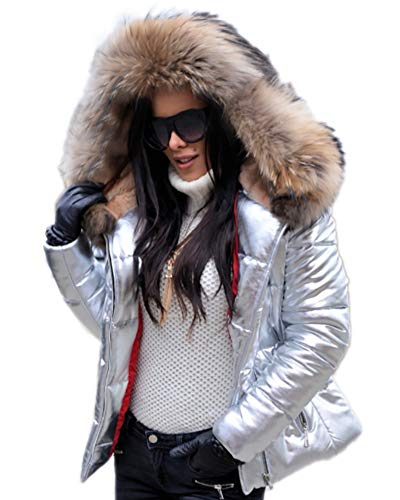 Aox Women Winter Chic Silver Faux Fur Hood Down Coat Puffer Short Bomber Jacket (M, Silver(Brown Faux Fur))