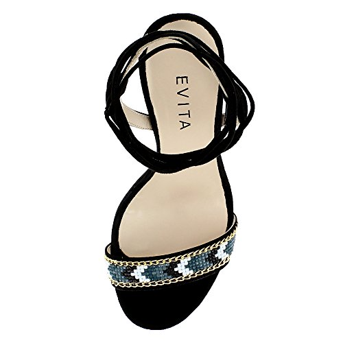 Sandali Donna Evita Nero Eva Shoes pqxA4EH