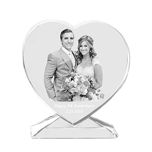 (Qianruna Personalized Custom 2D/3D Laser Photo Engraving Crystal Glass Heart with Stand,Best Gifts for Wedding and)