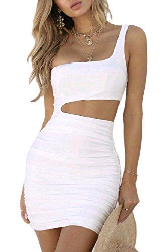 Coolred-femmes Creusent Drapé Solide Jusqu'à Une Épaule Moulante Sexy Courte Mini-robe Blanche