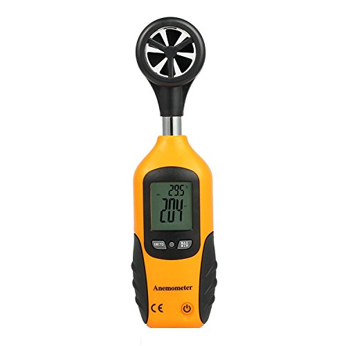 Proster Digital Anemometer Thermometer LCD Wind Speed Gauge Mini Air Flow Speed Meter & Temperature for Windsurfing Kite Flying Sailing Surfing Fishing by Proster
