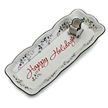 Pfaltzgraff Winterberry Appetizer Tray with Sleigh Toothpick Holder