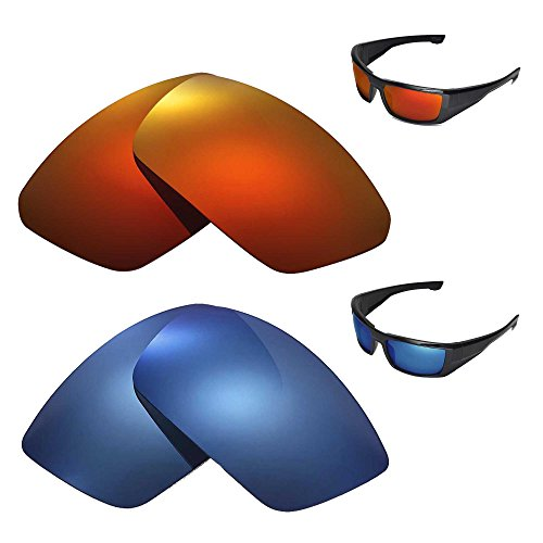 9028381d8a1f5 Walleva Polarized Fire Red + Ice Blue Replacement Lenses for Spy Optic DIRK