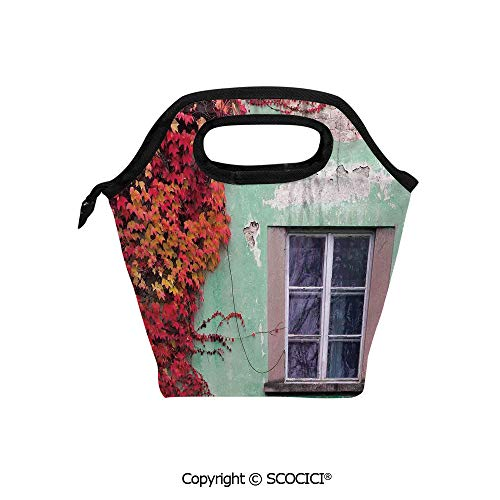 Portable thickening insulation tape Lunch bag Fall Ivy on Old House Walls Left Countryside Mansion Vintage Architecture Design for student cute girls mummy bag.
