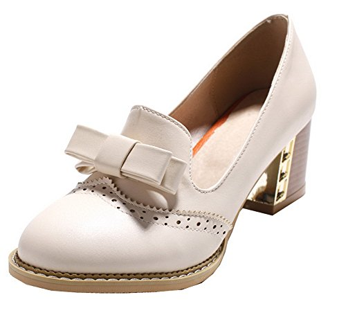 VogueZone009 Women's PU Round-Toe Kitten-Heels Solid Pumps-Shoes Apricot RLI1rB6aOr