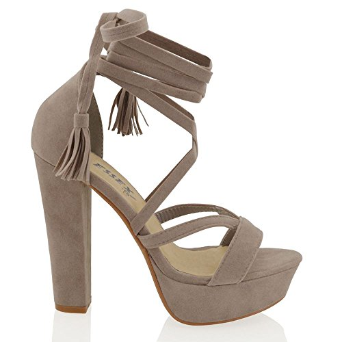 ESSEX GLAM Womens Platform Block High Heel Tie Lace Up Ankle Ladies Strappy Party Shoes 3-8 Grey Faux Suede SsjwcB