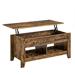 Farmhouse Coffee Tables Topeakmart Rustic Lift Top Coffee Table w/Hidden Storage & 2 Open Shelves – Dining Table for Living Room Reception Room… farmhouse coffee tables