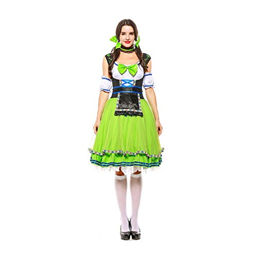 Yaxuan Women's Halloween Costumes,Game Uniforms Beer Festival Beer Service Restaurant Waiter Green Red Maid -