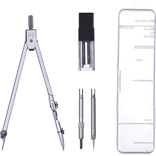 eBoot Stainless Steel Drawing Compass Math Geometry Tools for Circles, Total 5 Pieces (Included (Stainless Steel Compass)
