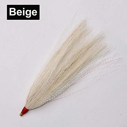 Bucktail Teasers Fishing Teaser Lures 10pcs Saltwater Bucktail for Teasers, Plugs - Fishing Cod Buck Tail Slide Teaser Kit (Beige)