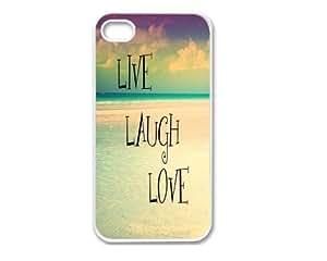 Iphone 5 Case, Thin Flexible Plastic Case Iphone 5 Case, Inspirational Quote Beach Live Laugh Love (5/5S - Love)
