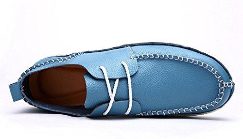 Tda Mens Bekväm Kontrast Sömmar Snörning Läder Körning Affärs Klänning Loafers Båt Skor Blå