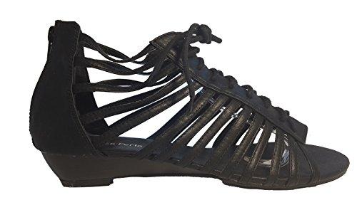 Sandalias mujer, tacones altos, rosa, negro, blanco, beige, marrón, gris, leopardo, modello 11064105008251, zapatos de mujer, diferentes modelos y tamaños. Negro con los cordones.