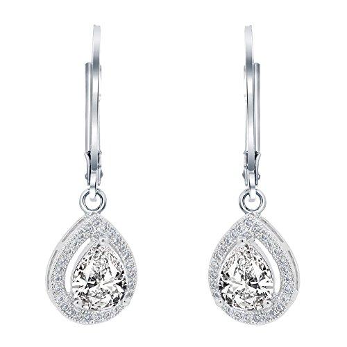 Cate & Chloe Izzy 18k White Gold Teardrop Cut CZ Halo Drop Earrings, Dangling Crystal Round Cut Earring Set for Women, Silver Cubic Zirconia Pave Earrings -