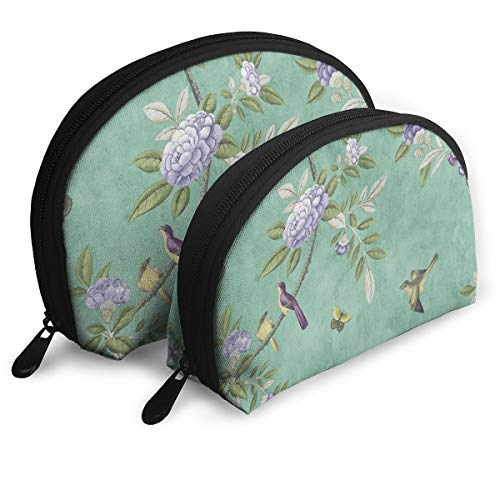 (Pouch Zipper Toiletry Organizer Travel Makeup Clutch Bag Bird Flower Portable Bags Clutch Pouch Storage Bags)