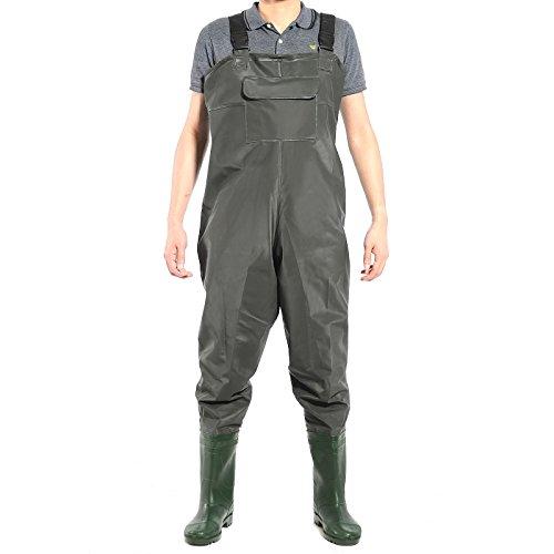 Angelhose PVC Wathose Teichhose mit Stiefel Schuhe dunkel gruen?wasserdichte 43