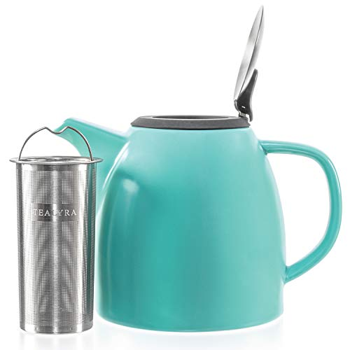 Tealyra - Drago Ceramic Teapot Turquoise - 37oz (4-6 cups) - Large Stylish Teapot with Stainless Steel Lid Extra-Fine Infuser To Brew Loose Leaf Tea - Leed-Free - 1100ml
