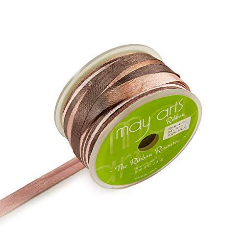 May Arts 1/4'' Variegated color Silk Ribbon Grey/Taupe (roll54 yard) Multi