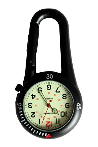 Black Clip on Carabiner Luminous Face FOB Watch for Doctors Nurses Paramedics Chefs Extra Battery