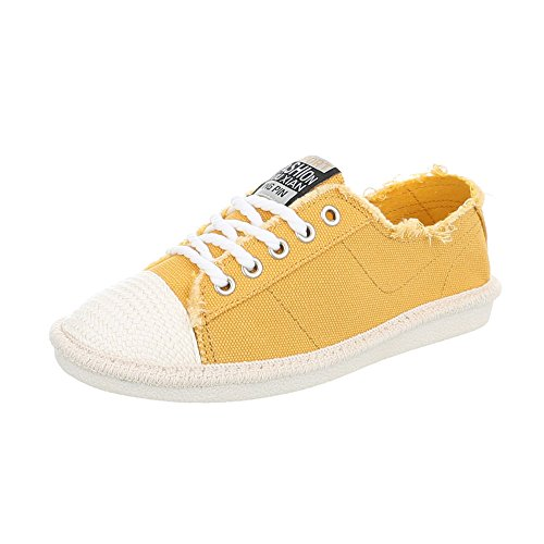 Low design Espadrilles 39 Jaune D Sneakers Chaussures Ital Femme Plat Baskets Mode 8wxq6pFdg